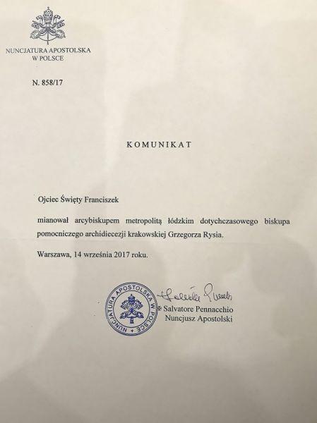 Abp Grzegorz Ryś: w piątek 14 września mija pierwsza rocznica nominacji